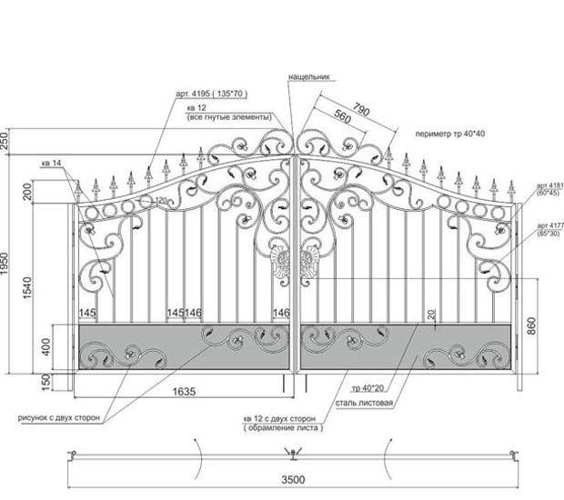 пример чертежа для кованых ворот